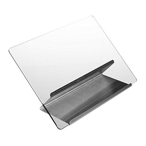 Relaxdays Kochbuchhalter aus Edelstahl und Glas, Leseständer für Rezepte, Kochbuchständer Metall HxB 22 x 29 cm, silber