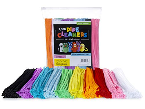 1,000 Pipe Cleaners in 10 Assorted Colors, Value Pack of Chenille Stems for DIY Arts and Craft Projects and Decorations - 6mm x 12 Inches (1000)