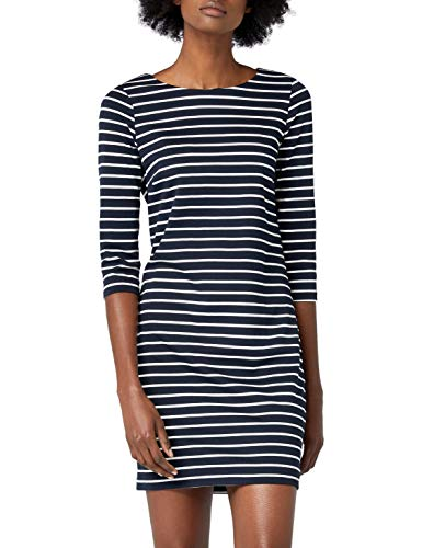 Vila Damen Kleid Vitinny New Dress, Blau (Total Eclipse Stripes: Snow White), L