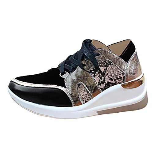 Zapatillas de cuña para Mujer Zapatos Gimnasio Deportes Zapatillas de Moda con Cordones de Malla Transpirables con Estampado de Serpiente