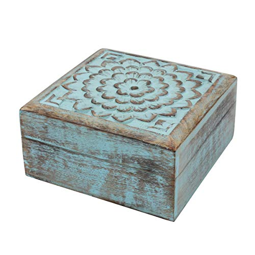 Stonebriar Vintage Worn Blue Floral Wooden Keepsake Box with Hinged Lid, Storage for Trinkets and Memorabilia, Decorative Jewelry Holder, Gift Idea for Birthdays, Christmas, Weddings, or Any Occasion