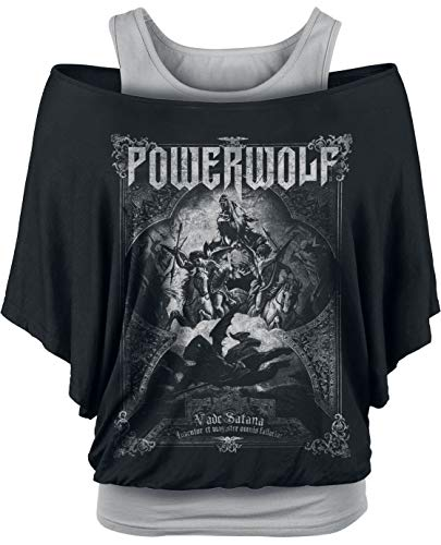 Powerwolf Vada Satana Frauen T-Shirt schwarz/grau M 95% Viskose, 5% Elasthan Band-Merch, Bands