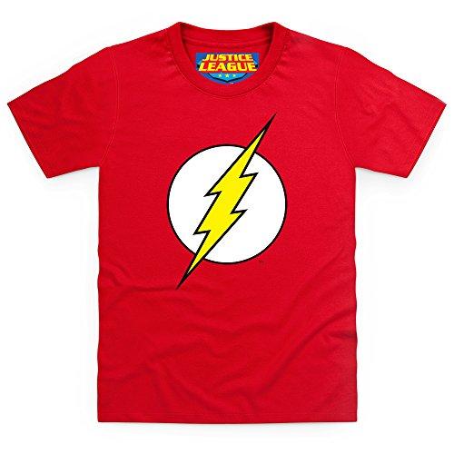 Flash Logo - Camiseta para niños (tejido resistente, diseño de DC Comics, color rojo rojo 140