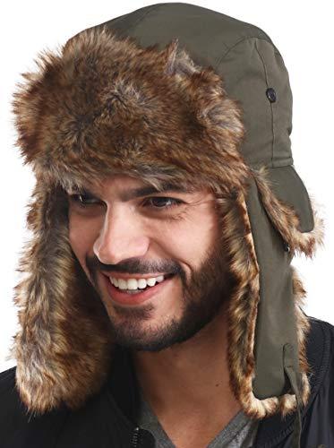 Trapper Hat - Winter Trooper Aviator Earflap Eskimo Hat - Fits Men & Women Army Green