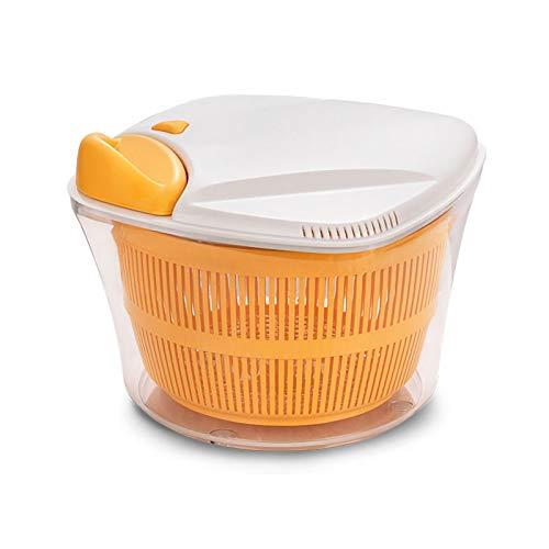 FYZS Lavadora de Vegetales de Spinner de 5L Grande con tazón, tecnología Anti-Wobble, Canasta de colador Cerrada y Tapa de Bloqueo Inteligente - Lavadora de Lechuga y Secadora - Sistema de Drenaje de