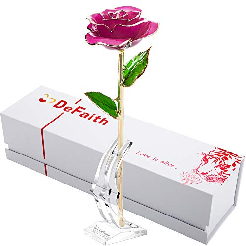 DEFAITH 24K Gold Dipped Real Rose Gifts, Best Wedding Anniversary Valentines Day Love Gift for Her Wife Girlfriend Spouse, Deep Pink with Stand