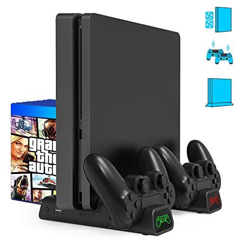 Gifort Soporte Vertical con Ventilador de Refrigeración para PS4/PS4 Pro/PS4 Slim, Base PS4 con 2 Ventiladores Refrigeración, Cargador Controlador PS4 y 10pcs Almacenamiento de Discos