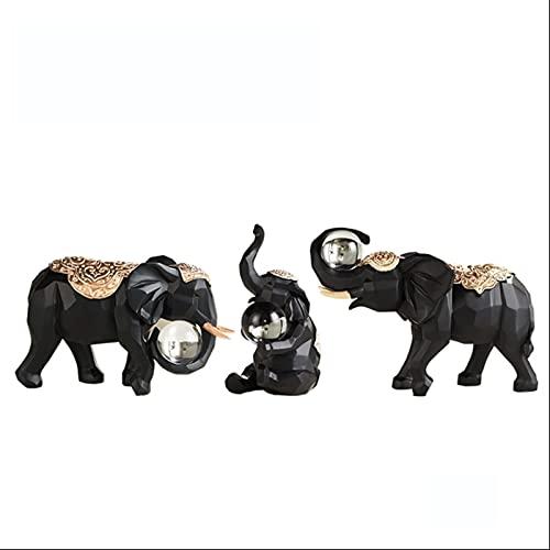 LICHUAN Figuras Adornos de Elefantes Resina Familia de Tres decoración de Escritorio Adecuado para la Sala de Estar en el hogar Gabinete de Vino (Color : Black)