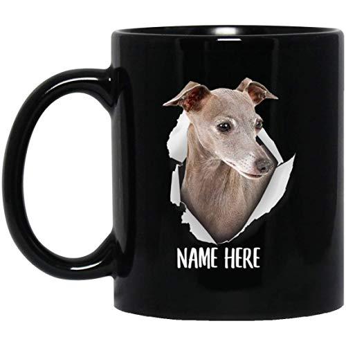 N\A Taza de café Negra Personalizada Divertida del Nombre Personalizado Gris Pizarra del Galgo Italiano