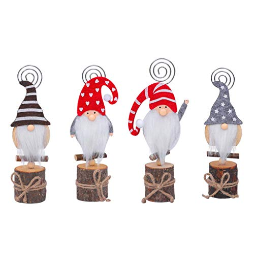 vegan 4pcs Christmas Swedish Gnome Photo Clip Stand, New Year Wood Table Name Card Holders