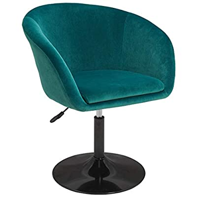 PU Leather Contemporary Salon Stool with Wheels Home Office Chair Round Swivel Accent Chair Tufted Adjustable by Duhome