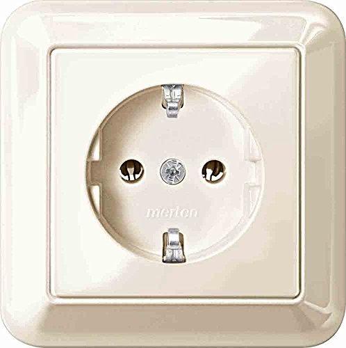 Merten MEG2301-1244 SCHUKO-Steckdose mit voller Abdeckplatte, Steckklemmen, weiß glänzend, Atelier-M