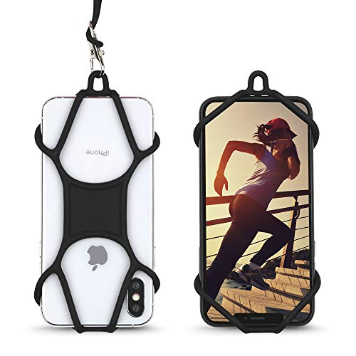 Cell Phone Lanyard, Gear Beast Silicone Smartphone Holder Case and Neck Strap Compatible with Most Phones Including iPhone 12 Pro Max Mini 11 Pro Max XS XR X 8 Plus Galaxy S20 S10 S9 + Note 20 10 9