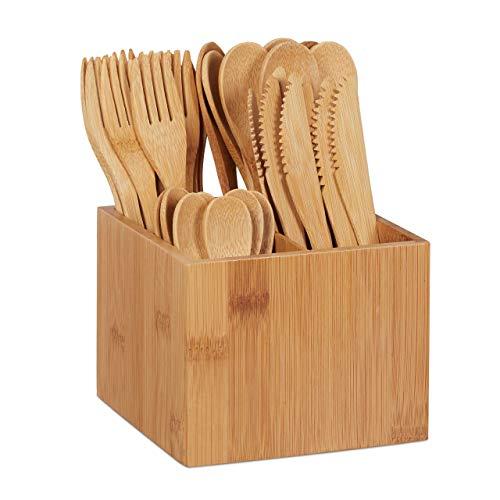 Relaxdays Set de cubertería de bambú, 10x Cuchillo, Tenedor, Cuchara, Cucharilla, Soporte...