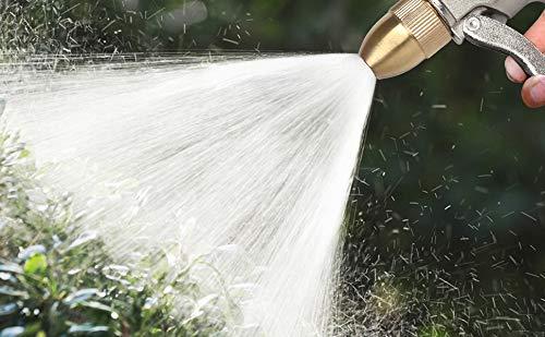 Jimjis散水ノズルメタル高圧洗車ウォーターガン金属製接続コネクター付き噴射漏れ防止多水型銅継手付きバイクボディー洗車庭ガーデン(ゴールド)