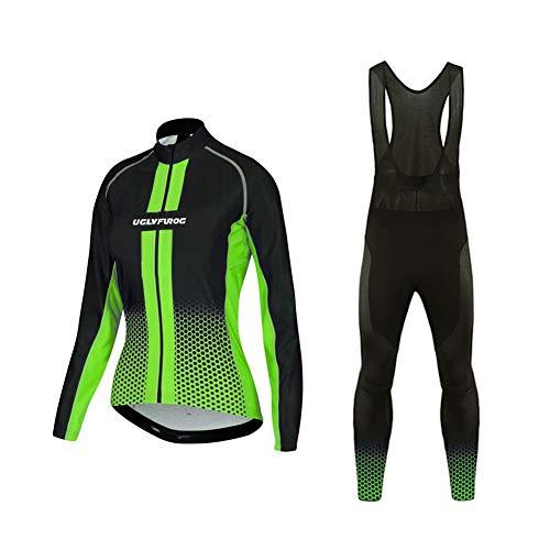 Uglyfrog Winter Radtrikot Fahrradbekleidung Set Langarm Winddicht Damen Thermische Fleece mit 3D Polster Hosen