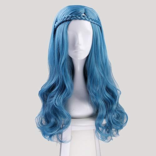 Descendants 2 Evie Azul Verde Mezcla Larga Ondulada Peluca Cosplay Disfraz Mujeres Pelo Sinttico Fiesta Juego de Roles Pelucas + Peluca Cap Kumz7146