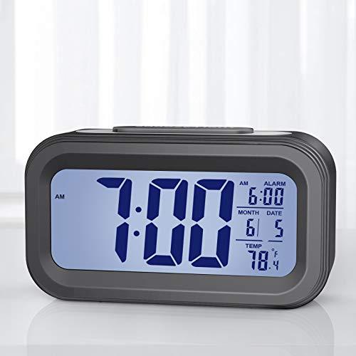 Despertador Digital, Reloj Digital con Pantalla LCD, Temperatura, USB Recargable, Reloj de Mesa con Repetición, Indicador de Fecha, Sensor de Brillo, 12/24 Horas, Niños, Estudiantes y Adultos