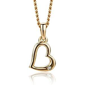 Orovi Halskette Damen mit Herz Rosé 9 Karat / 375 Gold Kette mit Rundschliff Diamant Kette 45 cm