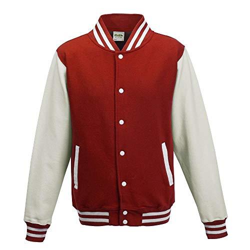 Just Hoods - Unisex College Jacke 'Varsity Jacket' BITTE DIE JH043 BESTELLEN! Gr. - L - Fire Red/White