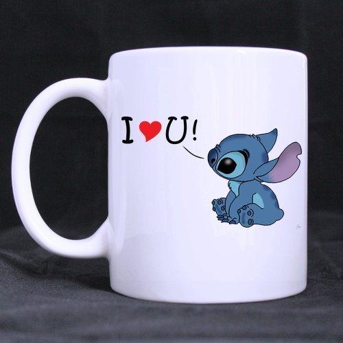 Leonat Lilo y Stitch Taza de café con leche personalizada Taza de té 11 Oz Office Home Cup