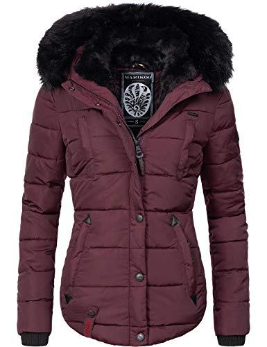 Marikoo Damen Winter Jacke Steppjacke Lotusblüte (vegan hergestellt) Weinrot Gr. XS