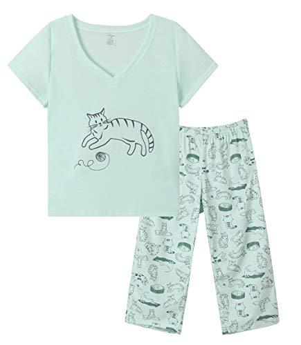 YIJIU Women Soft Comfy Pajamas Cute Cat Short Sleeve Capri Pants PJS Set, Greencat, Large