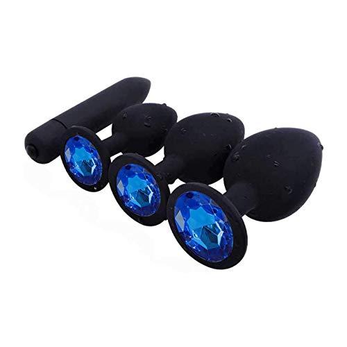 4 Pcs/Set Silicone Ànâ.les Trainer Kit Crystal Jewelry Gem Bûtt Pl'ugs Beads Mâssâge Toys for Women&Men Beginner Starter - Blue Round Rhinestone Base