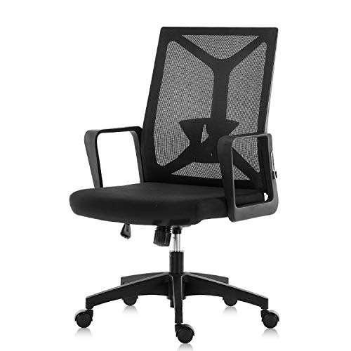 YAMASORO Mesh Office Chair Mid Back Swivel Computer Task Chairs Without Arms and Adjustable Seat Height for Home Office Conference Room Black