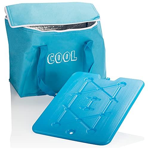 com-four® Kühltasche mit Kühlelement- kleine Faltbare Thermo-Kühlbox, leichte Isoliertasche für Camping & Outdoor, sommerliche Picknicktasche (1 Stück - Blau - 15l)