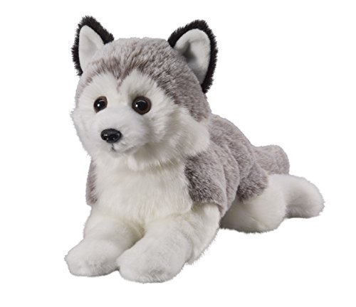 Deine Tiere mit Herz Bauer Spielwaren Husky liegend: Kleines Kuscheltier zum Kuscheln und Liebhaben, ideal als Geschenk, 18 cm, grau-weiß (12505)