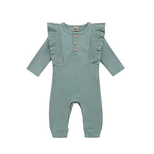 Eilecentyhzm Conjunto de ropa para bebé, niña, de manga larga, pelele de manga larga, con volantes, mono, mono, mono, para recién nacidos, para hermanas pequeñas. verde 90 cm