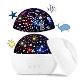 Upgrow Baby Nachtlicht, 2 in 1 LED Sternenlicht Projektor, Ozeanwelle Projektionslampe, 8-Farbwechsel & 360°drehbare Tischlampe für Kinderzimmer, Schlafzimmer, Party Geburtstag Dekor (Weiß)