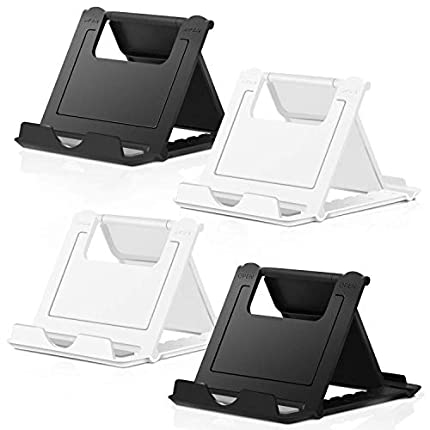 Soporte Móvil, [4 Unidades] Soporte Phone Ajustable & Plegable Dock Base Mesa para Teléfono Tableta Smartphones Compatible iPhone X 8 7 6 6s Plus SE, Blanco/Negro