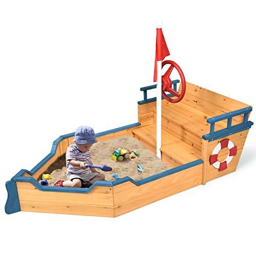 Costzon Pirate Boat Wood Sandbox for Kids, Wooden Pirate...