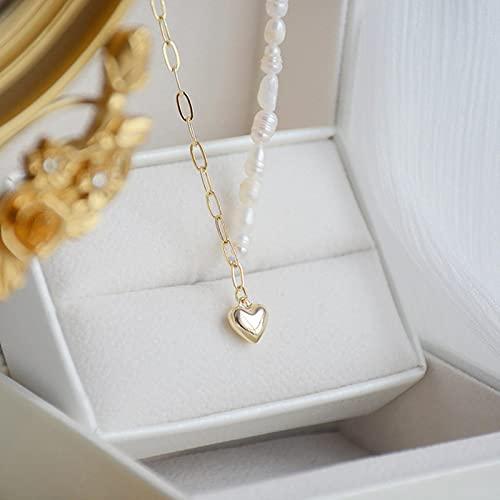 zonger Collar Chapado en Oro de 14 k, Collares de Perlas de Agua Dulce para Mujer, Cadena de clavícula, Encanto, Colgante de corazón, joyería