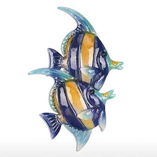 Lechnical Appeso a Parete con Pesci Tropicali 2 Decorazioni per pareti in Ferro Ornamento Creativo Craft 9.8'Wall Art Wall Marine Life