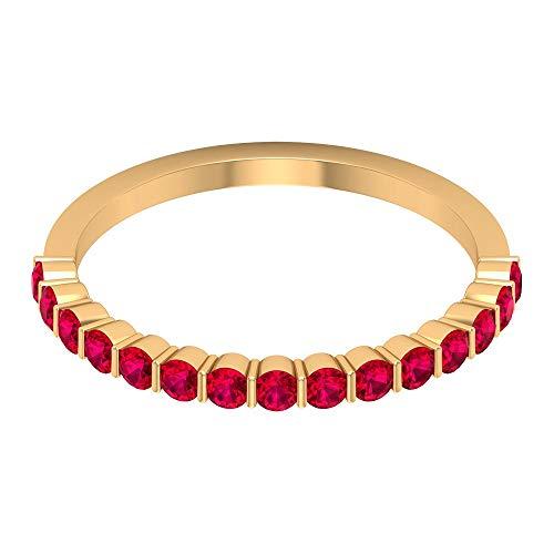 Anillo de media eternidad con certificado de 3/4 ct, con relleno de cristal rubí, anillo de compromiso único para mujeres, anillo de boda con piedras preciosas, 14K Oro amarillo, Size:EU 70