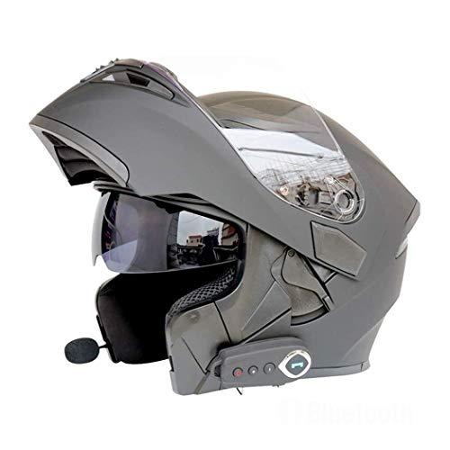 Moto Casco Bluetooth Casco Anti-Collisione Casco Modulare D.O.T Certificazione Flip Frontale Anti-Fog Doppio Specchio Risposta Automatica Bluetooth Musica (M, L, XL, XXL),Matteblack,M57CM~58CM