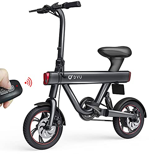 """DYU V1 Bici Elettrica Pieghevole - 12"""" Bicicletta Pedalata Assistita per donna 250W Motor velocità Massima 25km/h 36v 10Ah Batteria TRIP 40-60km E-Bike con Chiave Wireless, Allarme Inteligente"""
