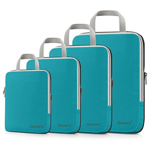 Compression Packing Cubes 3/4er Set, Gonex Kleidertaschen 4-teilig Verpackungswürfel, Kleidertaschen Set, Kofferorganizer Reise Würfel, Blau(4er)