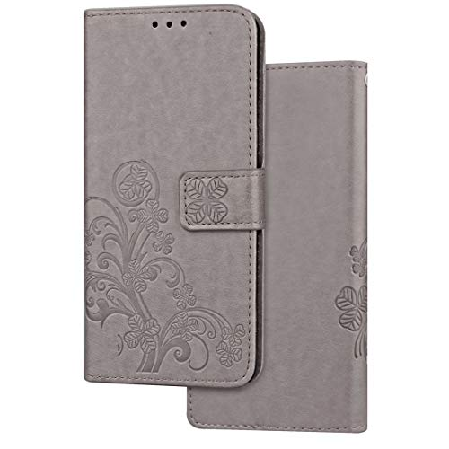 Todayday Easy Replacement Tool for Huawei Glory 10 Lite Pressed Flowers Horizontal Flip Leather Case with Magnetic Buckle & Holder & Card Slots & Wallet,Simple and Elegant Design (Color : Grey)