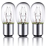 3 Pieces Sewing Machine Light Bulb Sewing Machine Incandescent Bulb Compatible with Sewing Machine with Push-in Base, 15 W, 120 V (Silver Base)