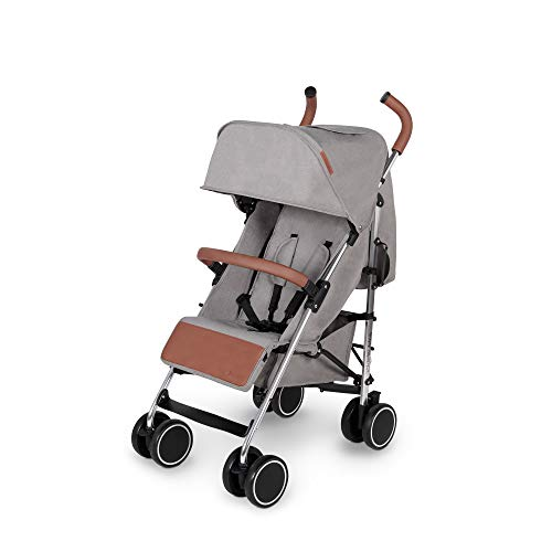 Ickle Bubba Discovery Prime Stroller | Lightweight Portable Pushchair | from 6 Months to 4 Years | UPF 50 Hood, Rain Cover, Seatliner & Footmuff, Cup Holder, Buggy Organiser | Grey on Silver Frame
