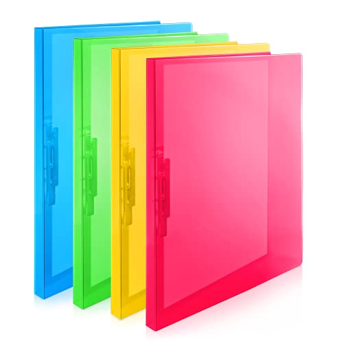 CRANBURY Punchless Binders with Clamp – (Assorted Colors, 4-Pack), Bright Translucent Poly Binders, Sturdy Plastic Folders Clips Hold 100 Letter Size Pages, Clasp Binders, Clip Folders Include Labels