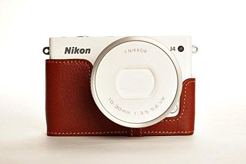 ニコン Nikon 1 J4用本革カメラケース ブラック、ブラウン (レンズカバー付ケース&ストラップLK15&バッテリーケース, ブラウン)