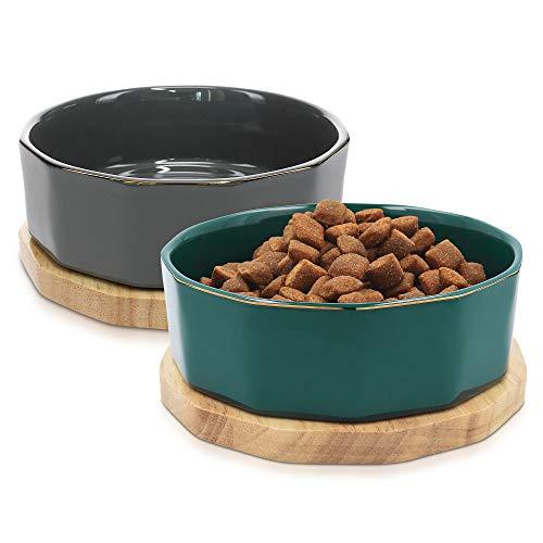 Navaris Fressnapf Futternapf Set aus Keramik - 2X Hundenapf Katzennapf Futterschale mit Unterlage aus Eichenholz - Fressnäpfe für Hunde und Katzen