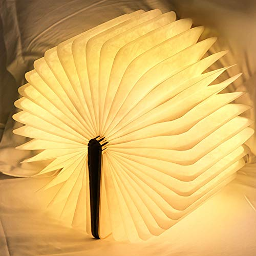 Desk LED Wooden Book Light Folding Night Light Gift Book USB Large Capacity Rechargeable Table Lamptable lamp Novelty Decoration Birthday Gift (Miedum) 2