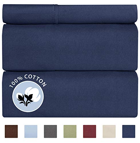 100% Cotton Twin Size Sheets Navy Blue (3pc) Silky Smooth, Cooling 400 Thread Count Long Staple Combed Cotton Twin Sheet Set – Pure 400TC High Thread Count Twin Sheets - Twin Bed Sheets Cotton