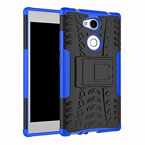 pinlu Funda para Sony Xperia L2 Smartphone Doble Capa Híbrida Armadura Silicona TPU + PC Armor Heavy Duty Case Duradero Protección Neumáticos Patrón Azul